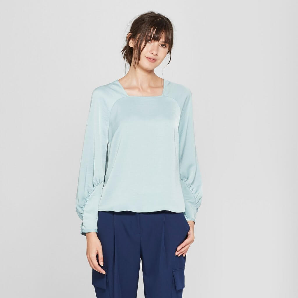 Long Sleeve Square Neck Raglan Blouse