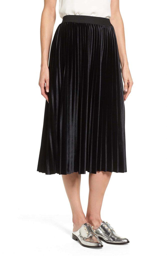 Halogen Velvet Pleated Skirt