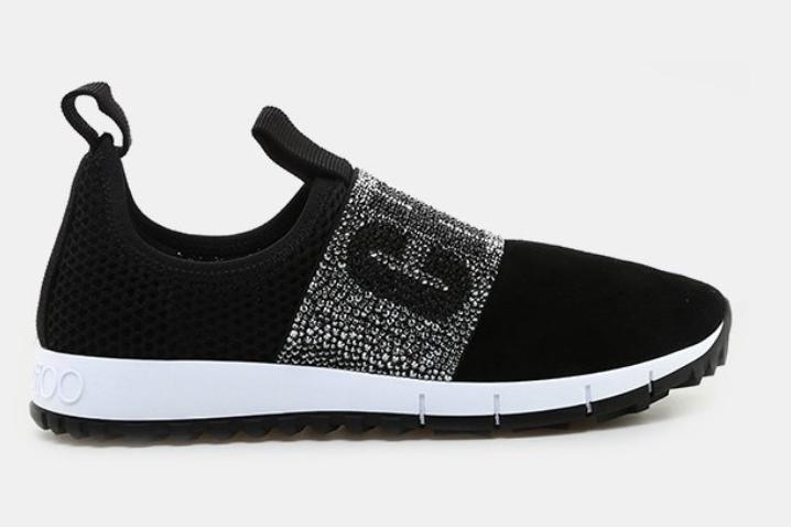 Jimmy Choo Oakland Crystal Strap Slip-On Sneaker