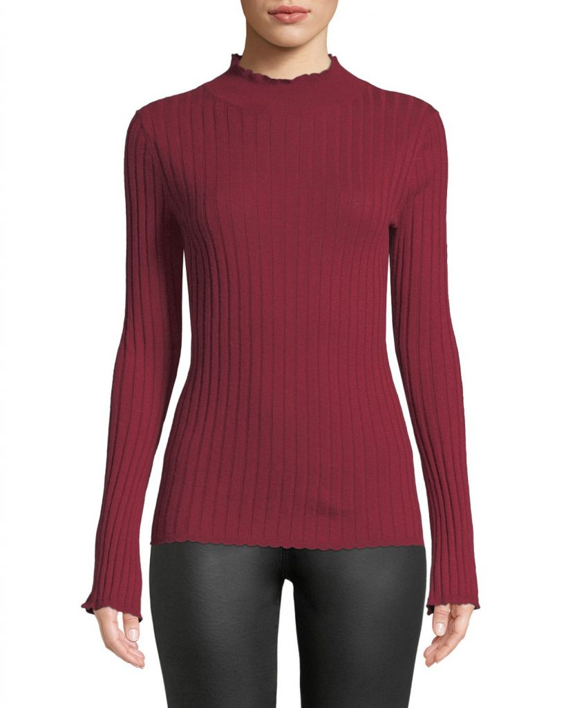 Joie, Gestina Ribbed Mock Turtleneck Sweater