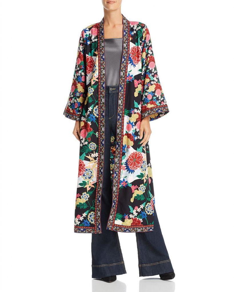 Alice & Olivia, Lynn Side-Slit Floral Print Kimono