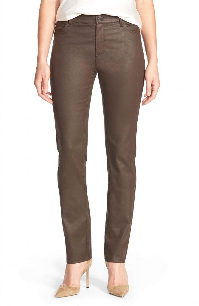 Lafayette 148 NY Waxed Denim Slim Leg Jeans