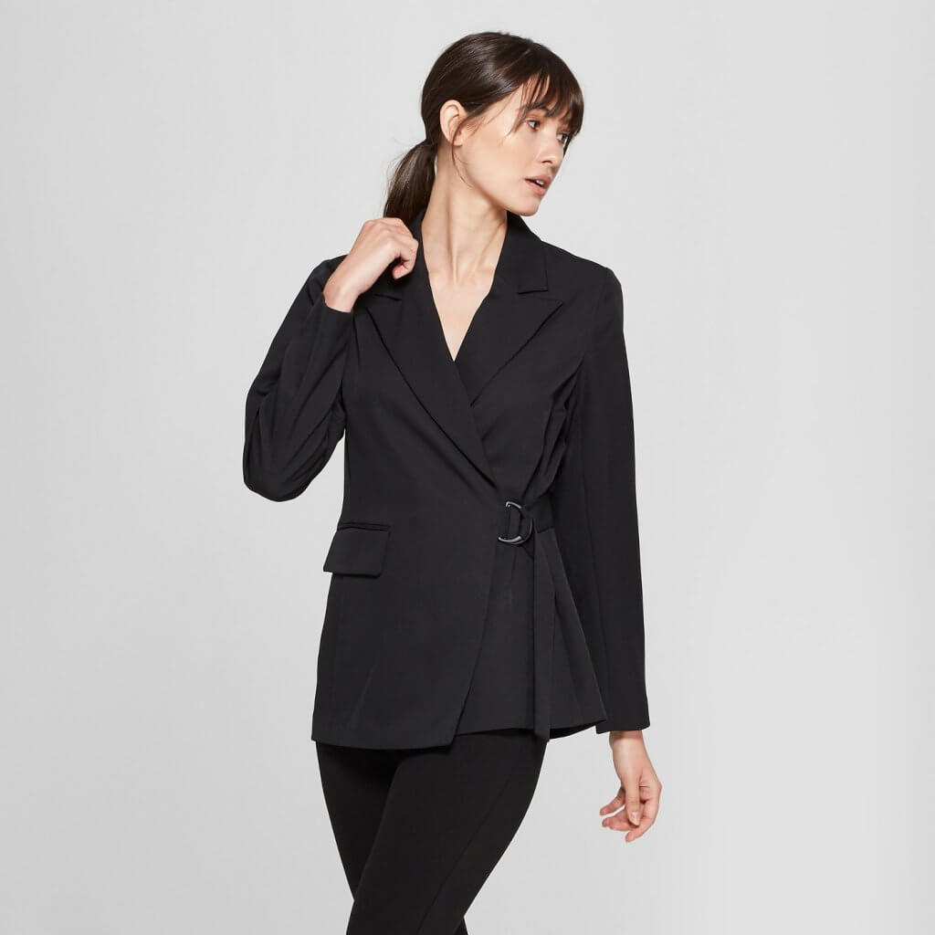 Long Sleeve Side Tie Collared Blazer