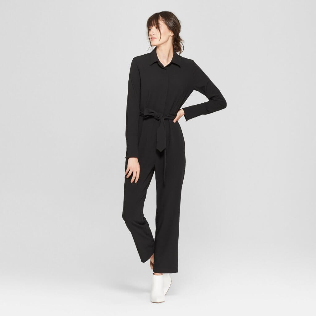 Long Sleeve Tie Waist Jumpsuit