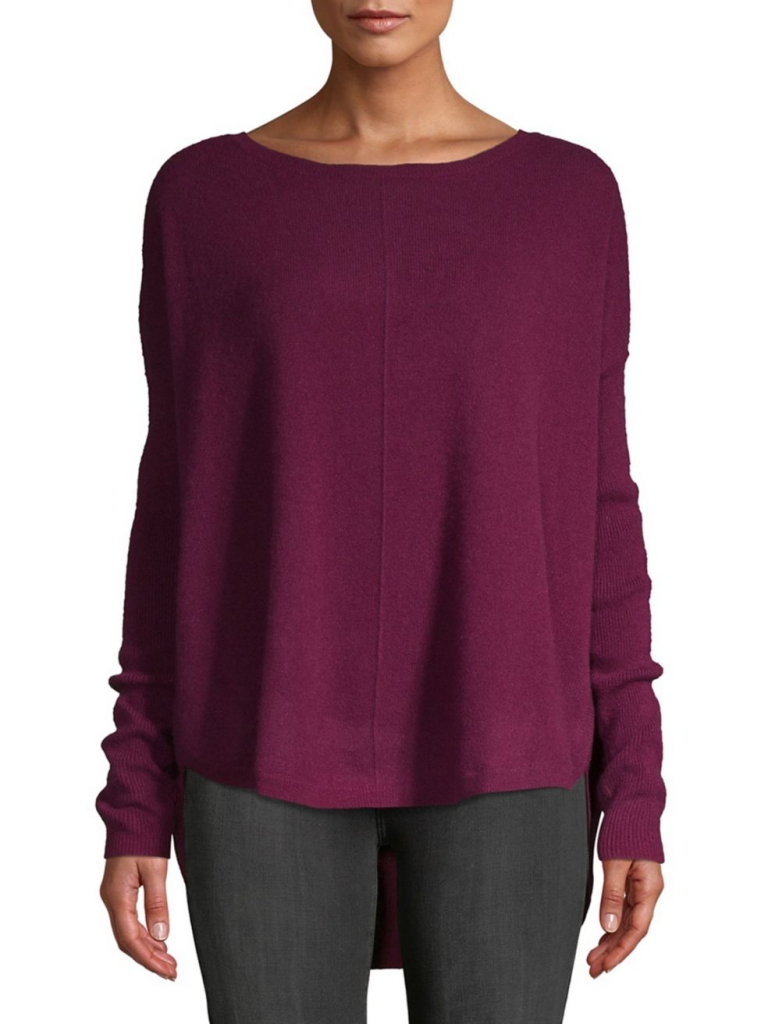 Lord & Taylor Boatneck Boxy Cashmere Sweater