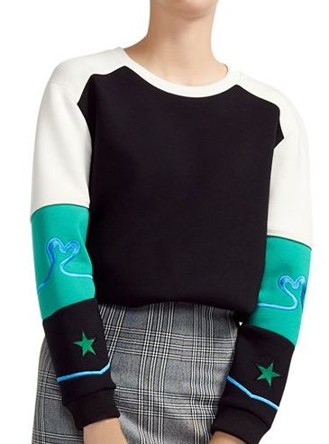 Maje, Tatoo Embroidered Color-Blocked Sweatshirt