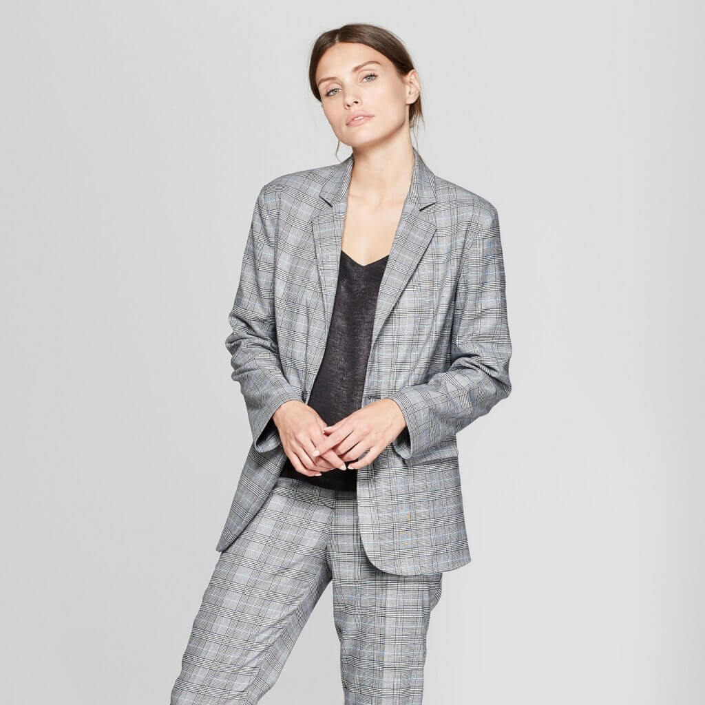Plaid Long Sleeve Oversized Slouchy Collared Blazer