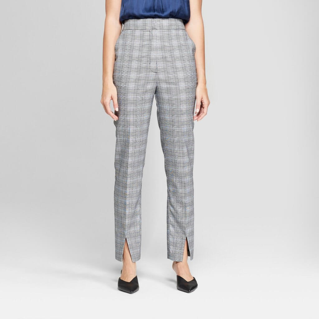 Plaid Skinny Leg High Waist Ankle Length Trouser