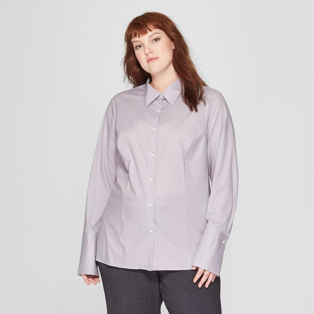 Plus Size Long Sleeve Fitted Button-Down Collared Shirt