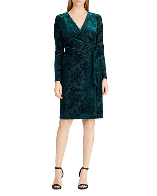 Ralph Lauren, Flocked Velvet Wrap Dress