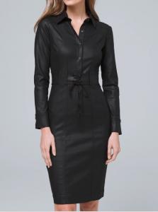 WHBM black coated denim dress