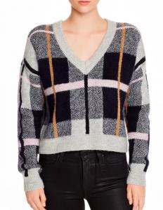 AQUA Plaid V Neck Sweater