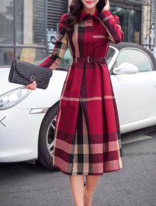 Plaid Midi Dress Daily Casual