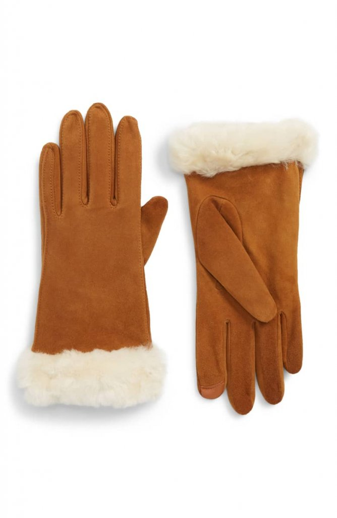 UGG® Classic Touchscreen Compatible Gloves with Genuine Shearling Trim _ Nordstrom