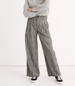 Madewell Women's Pleated Wide Leg Plaid Pant