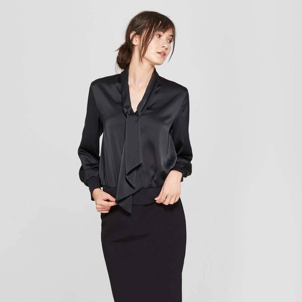 Long Sleeve Silky Tie Knot Blouse
