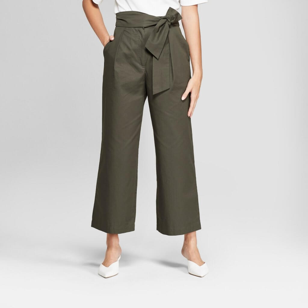 Wide Leg Tie Front Ankle Length Trouser
