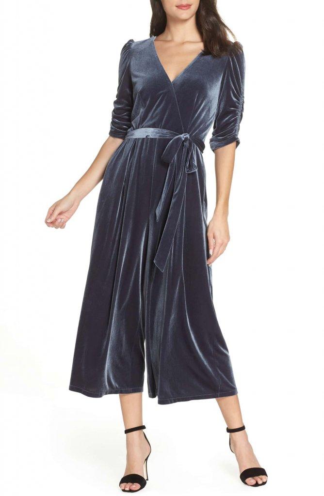 Chelsea28 Velvet Culotte Jumpsuit