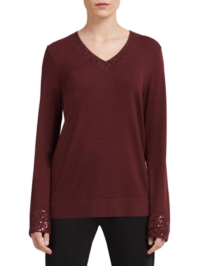 Donna Karan Long Sleeve Sequin Top