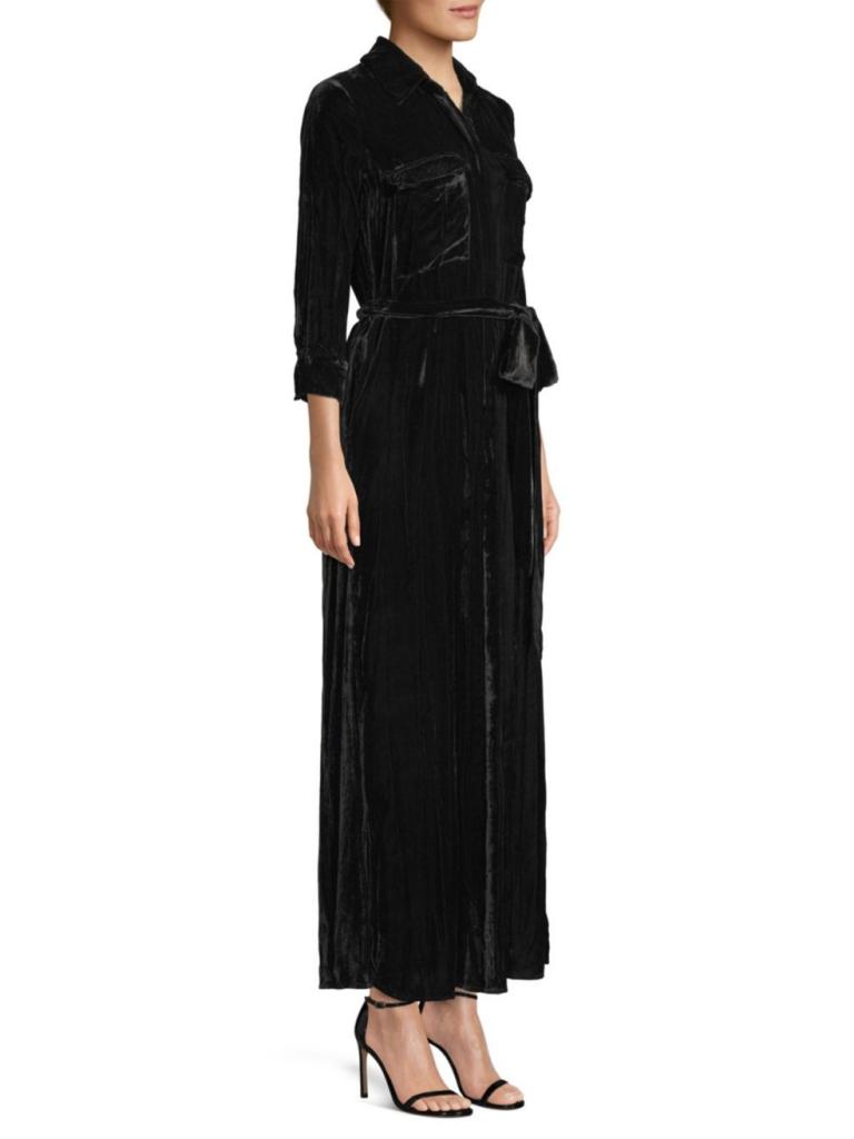 LAgence Cameron Crinkle Velvet Maxi Dress