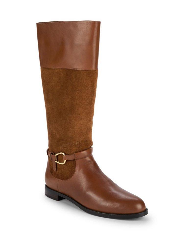 Lauren Ralph Lauren Harlee Leather and Suede Tall Boots
