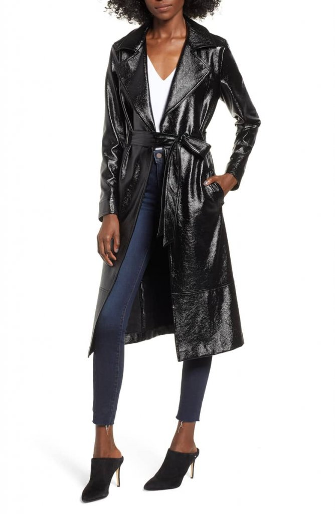 Leith Faux Patent Leather Trench