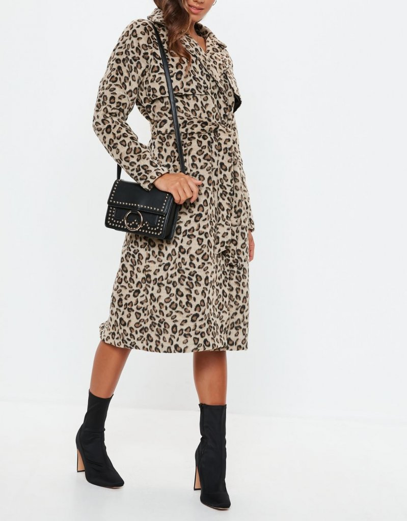Leopard Wool Trench