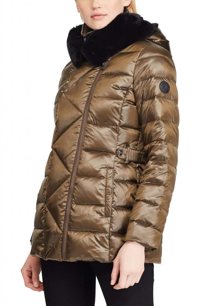 Ralph Lauren Asymmetrical Placket Faux Fur Trim Quilted Jacket