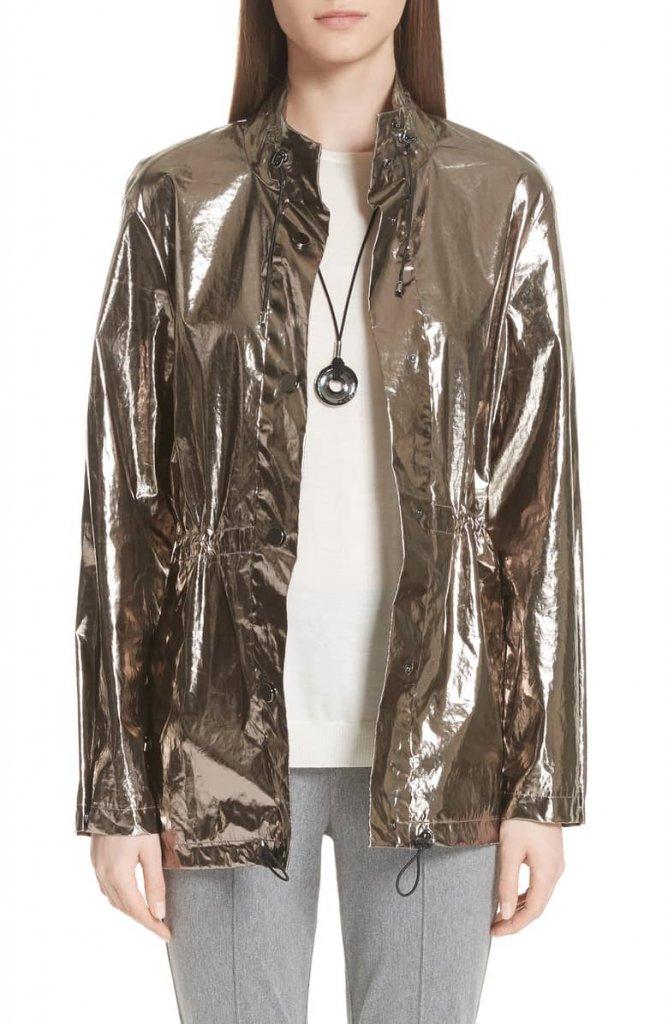 St John Collective Laminated Metallic Funnel Neck Jacket