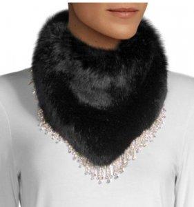 Swann Hostein Crystal Embellished Faux Fur Bandana Scarf