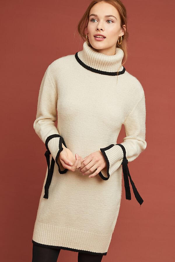 Anthropologie Bow-Tied Turtleneck Dress