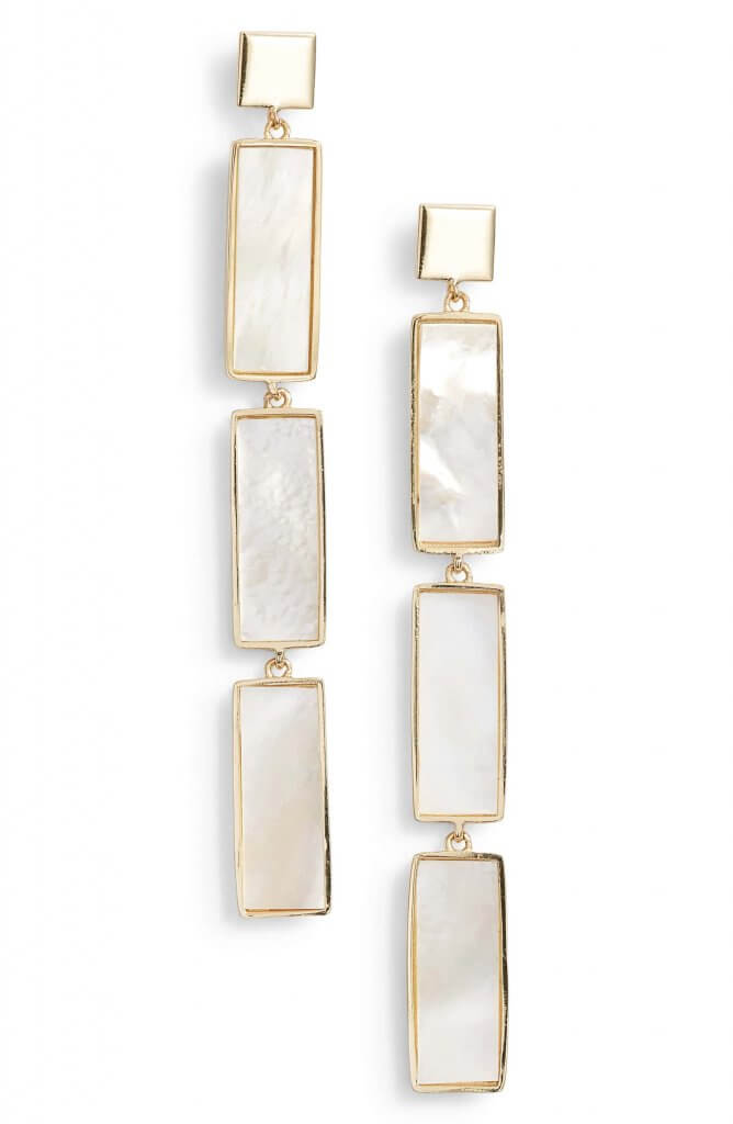 Argento Vivo Geometric Mother of Pearl Drop Earrings