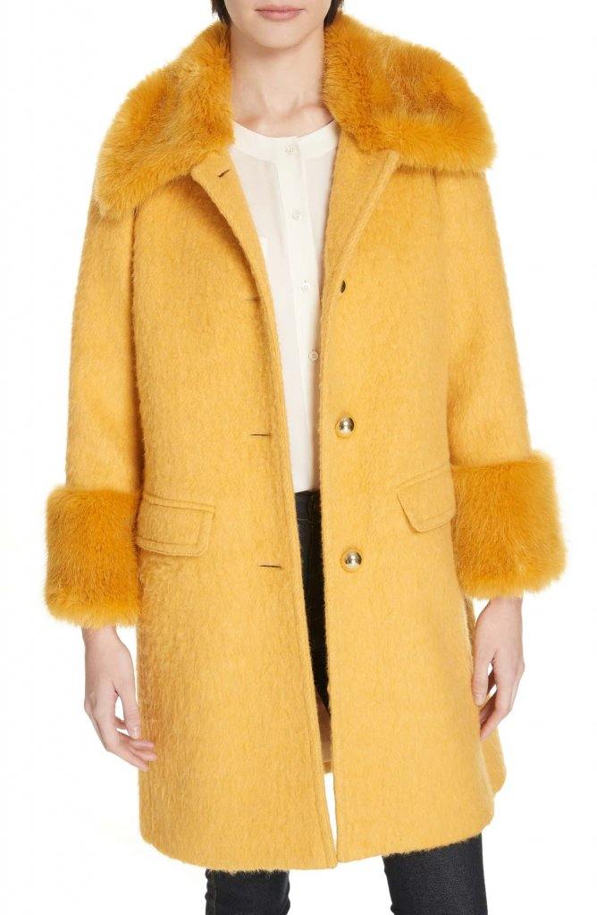 Kate Spade faux fur trim fluffy coat