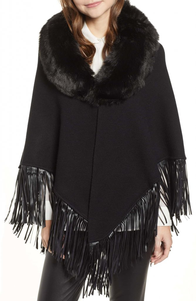 Love Token Fringe Poncho With Detachable Faux Fur Collar