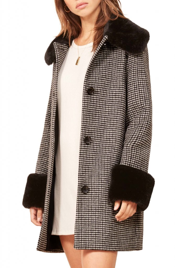 Reformation Lucille Faux Fur Trim Coat