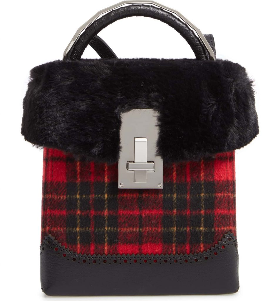 The Volon Plaid Great Box Bag with Faux Fur Trim