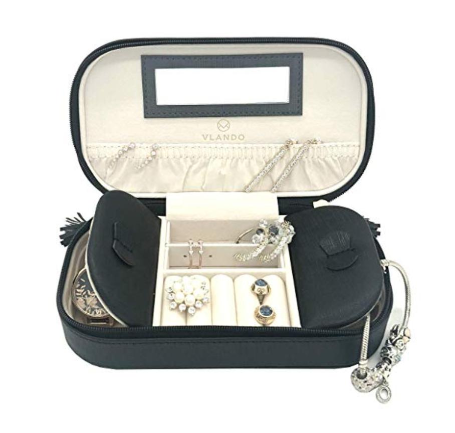 Vlando Small Travel Tassel Jewelry Box