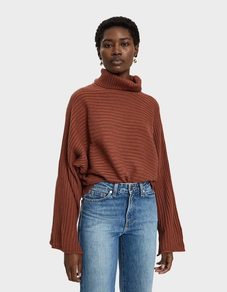 Farrow Joie Rib Knit Turtleneck Sweater in Copper