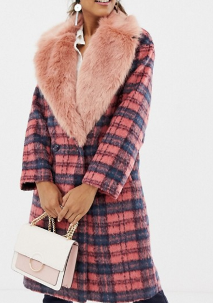Asos Faux Fur Collar Check Coat