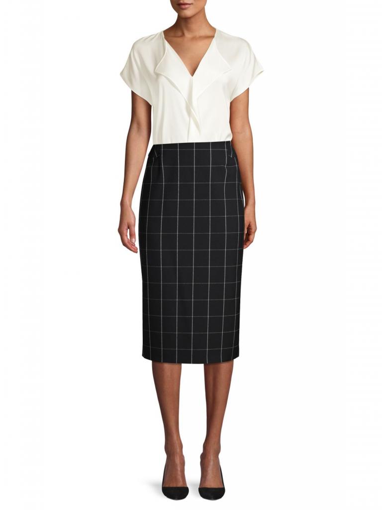 BOSS Vedani Windowpane Check Long Pencil Skirt