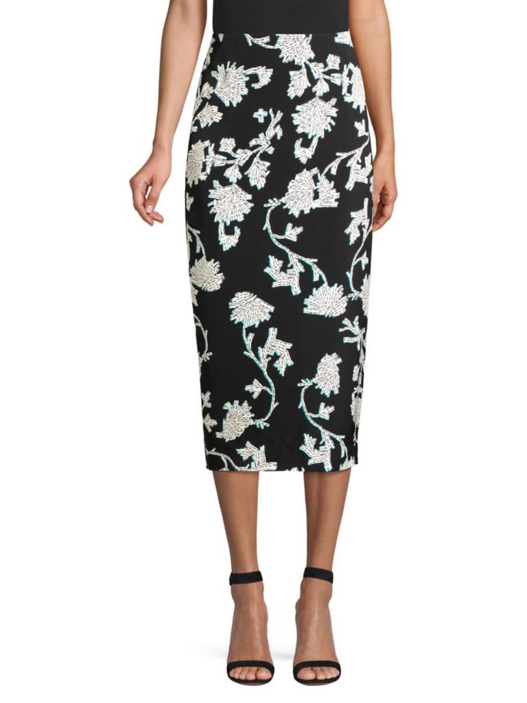 Diane von Furstenberg Kara Floral Pencil Skirt
