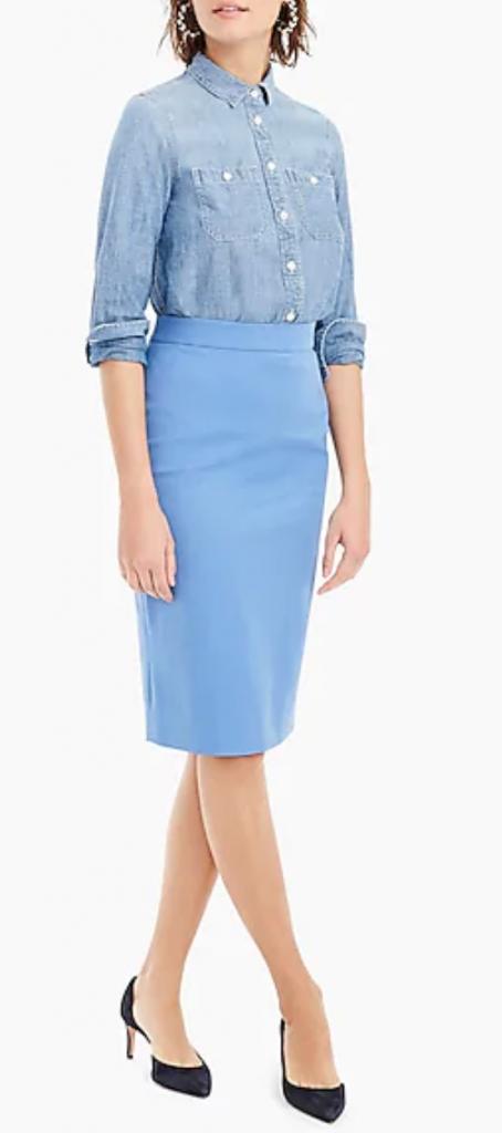 JCrew No. 2 Pencil Skirt in Bi-stretch Cotton