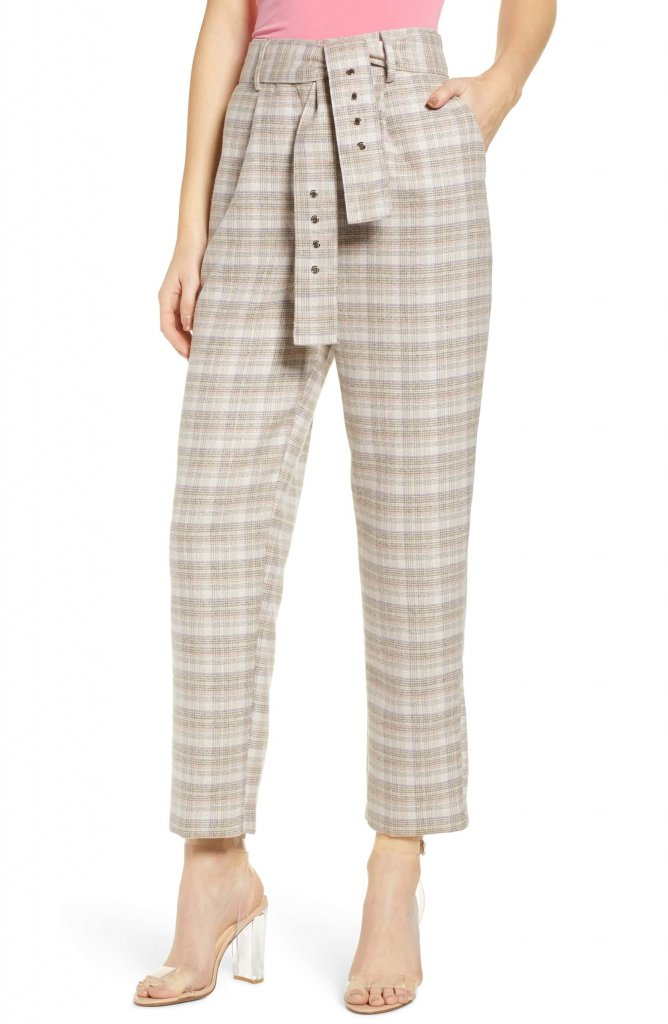 JOA Check Print Straight Leg Trousers