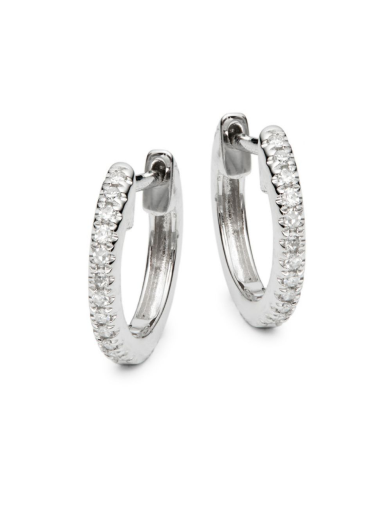 Saks Fifth Avenue 14K White Gold & Diamond Huggie Earrings