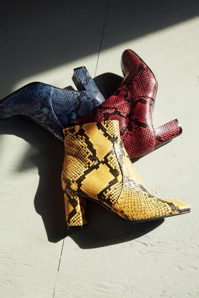 barneys new york blue maroon and yellow snakeskin ankle boots