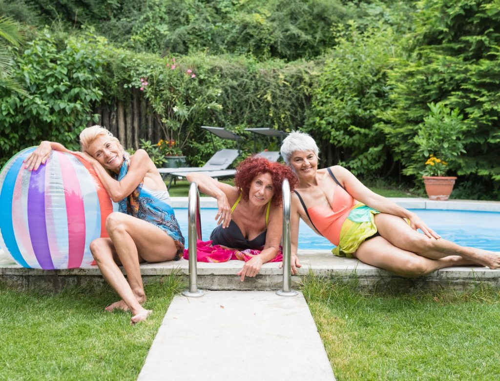 senior women at the swimming pool
