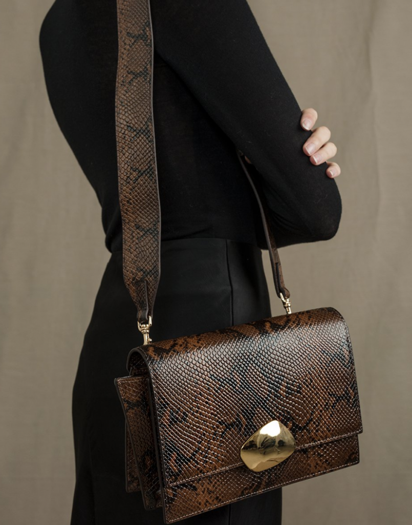 Brown Python Shoulder Bag