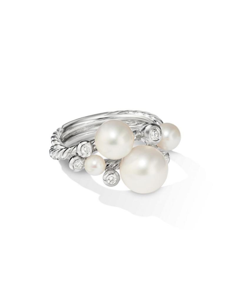 David Yurman Pearl + Diamond Cluster Ring