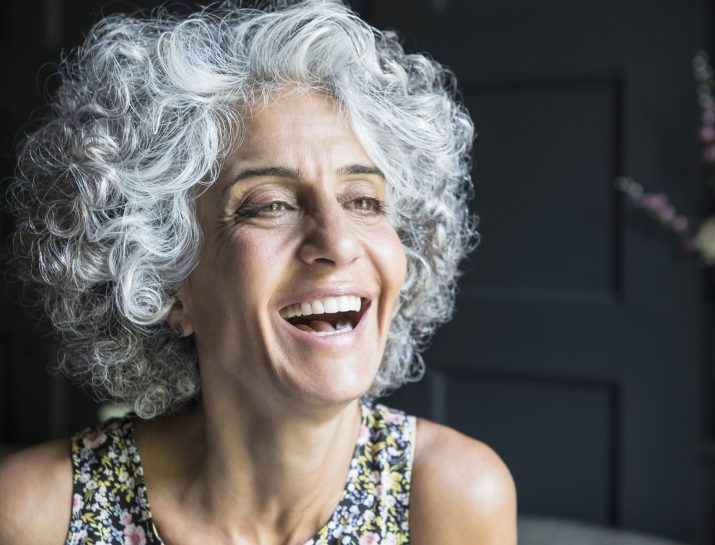 gorgeous gray-haired woman