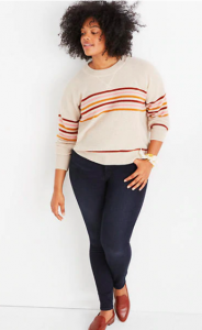 Striped Cashmere Sweater for Curvy Women